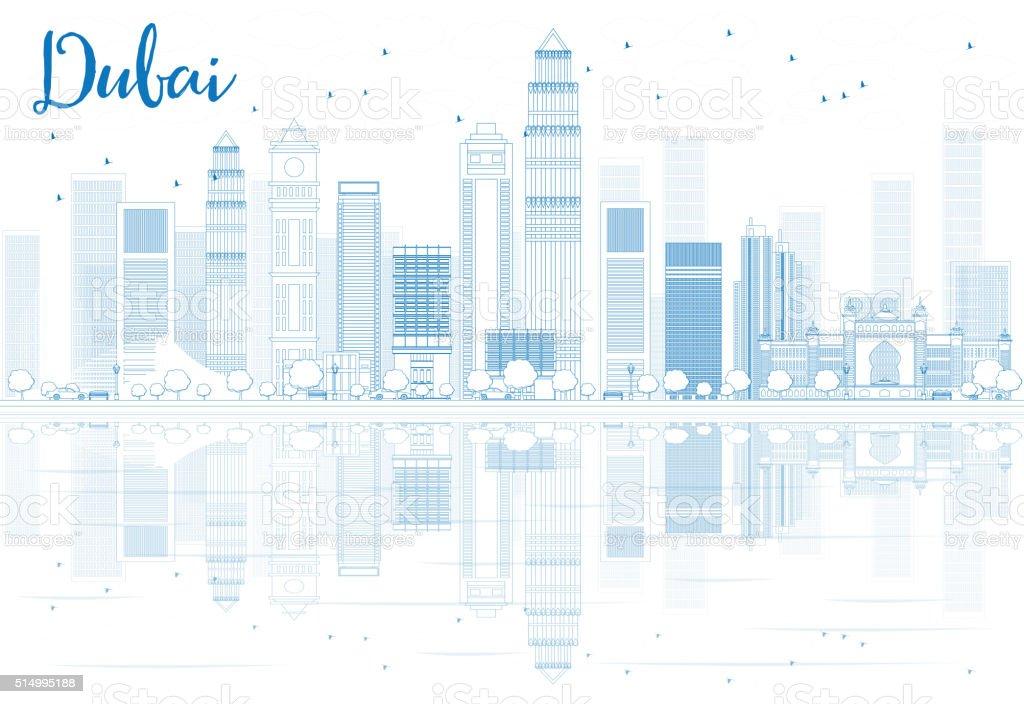Outline Dubai skyline with blue buildings and reflections. vector art illustration