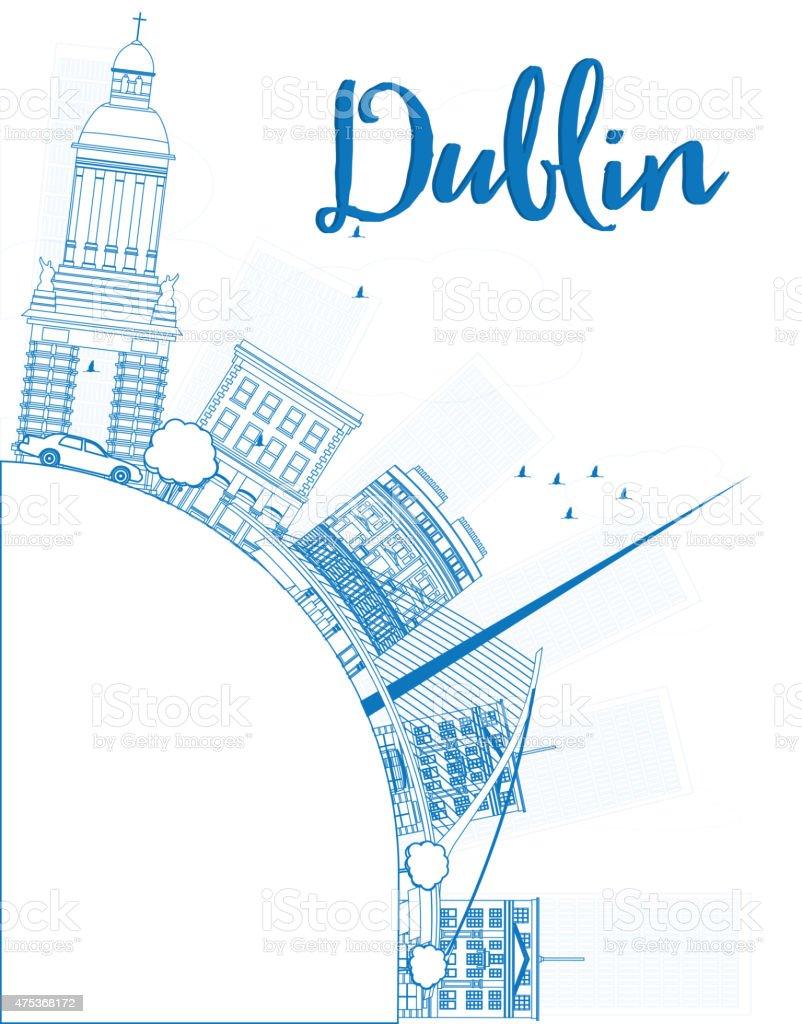 Outline Dublin Skyline with Blue Buildings and copy space vector art illustration