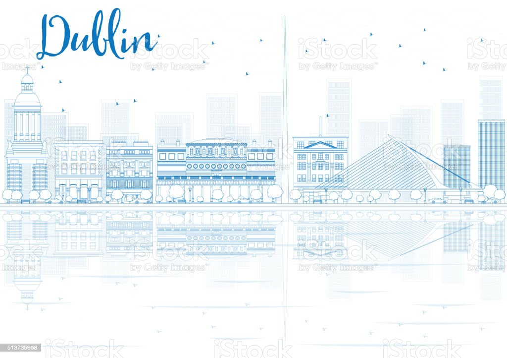 Outline Dublin skyline with blue buildings and reflections. vector art illustration