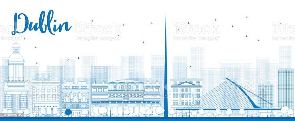 Outline Dublin Skyline with Blue Buildings, Ireland vector art illustration