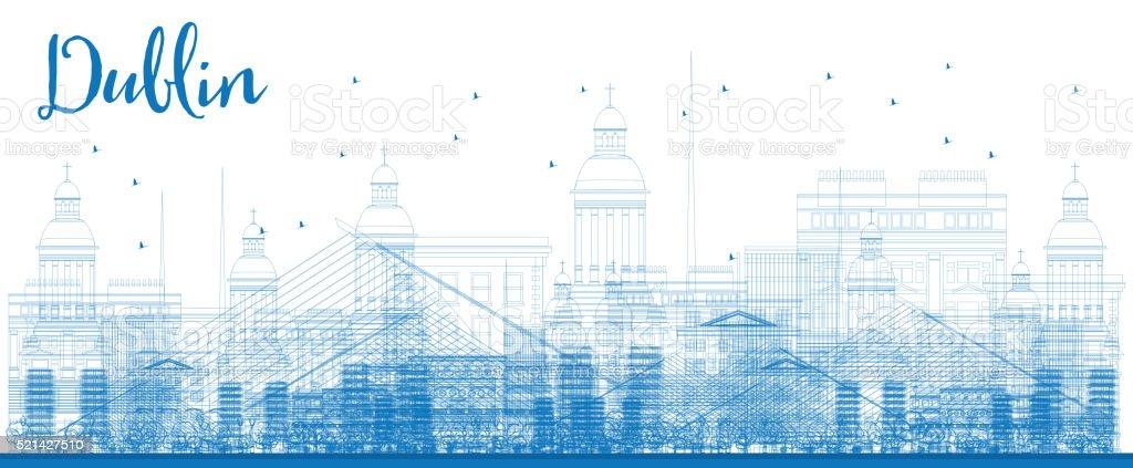 Outline Dublin Skyline with Blue Buildings. vector art illustration