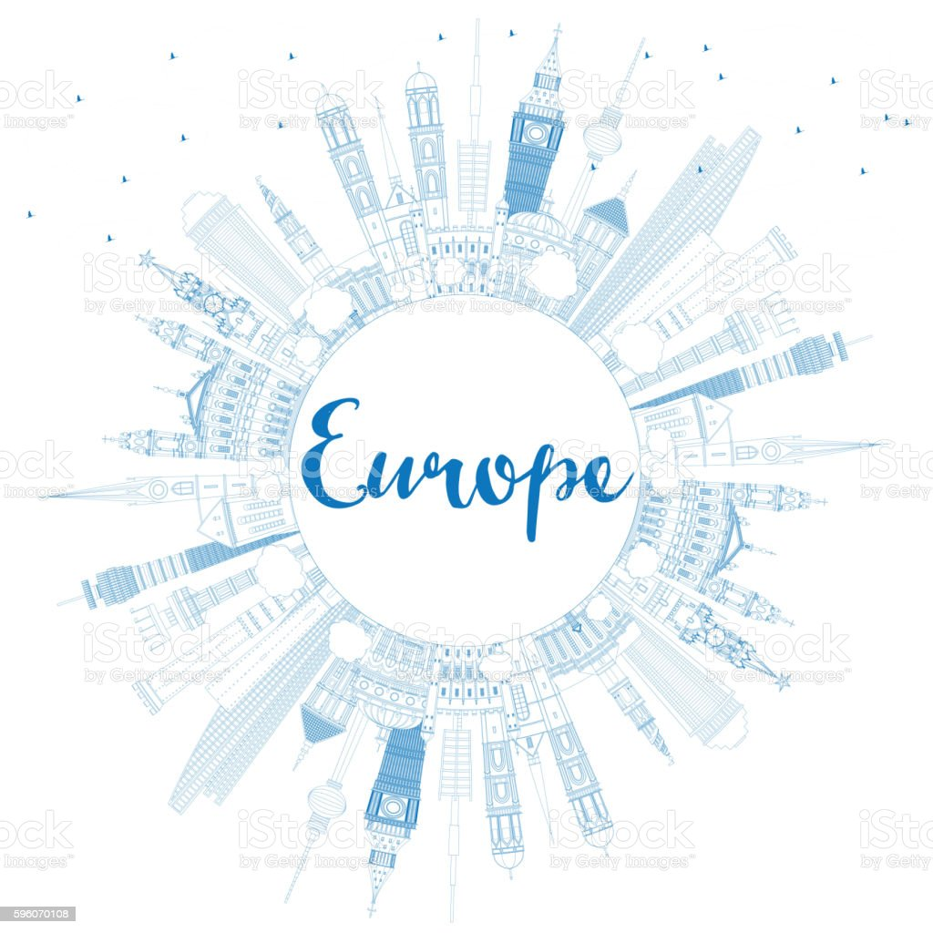 Outline Europe skyline silhouette with blue landmarks and copy s vector art illustration