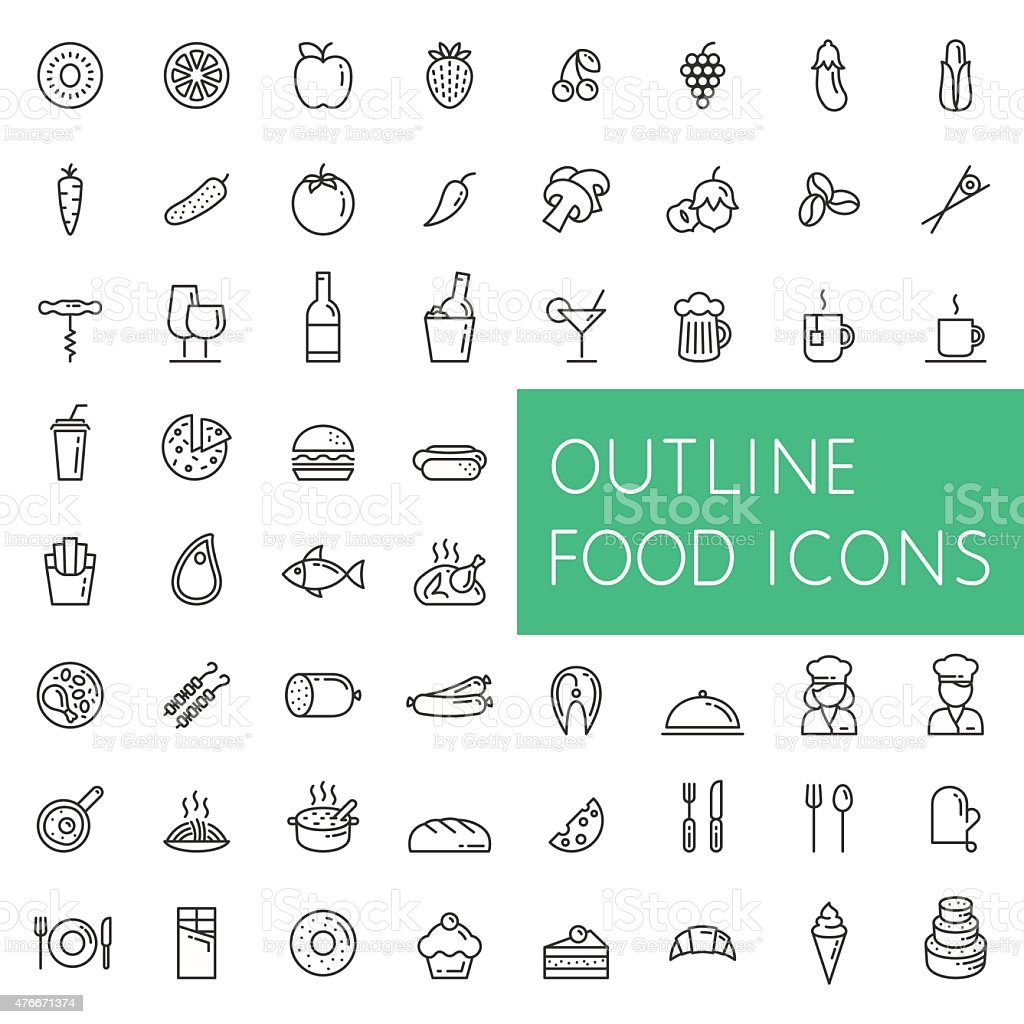 Outline food icons set for web and applications. vector art illustration