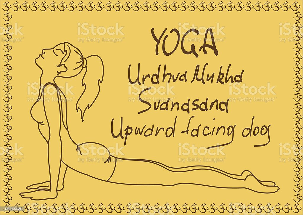 Outline girl in Upward Facing Dog yoga pose vector art illustration
