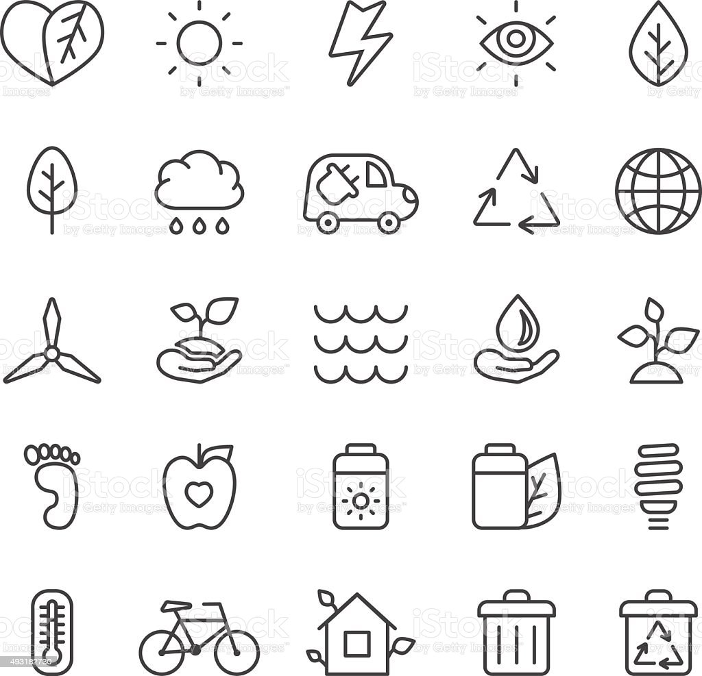Outline gray eco icons vector set. Minimalistic style. vector art illustration