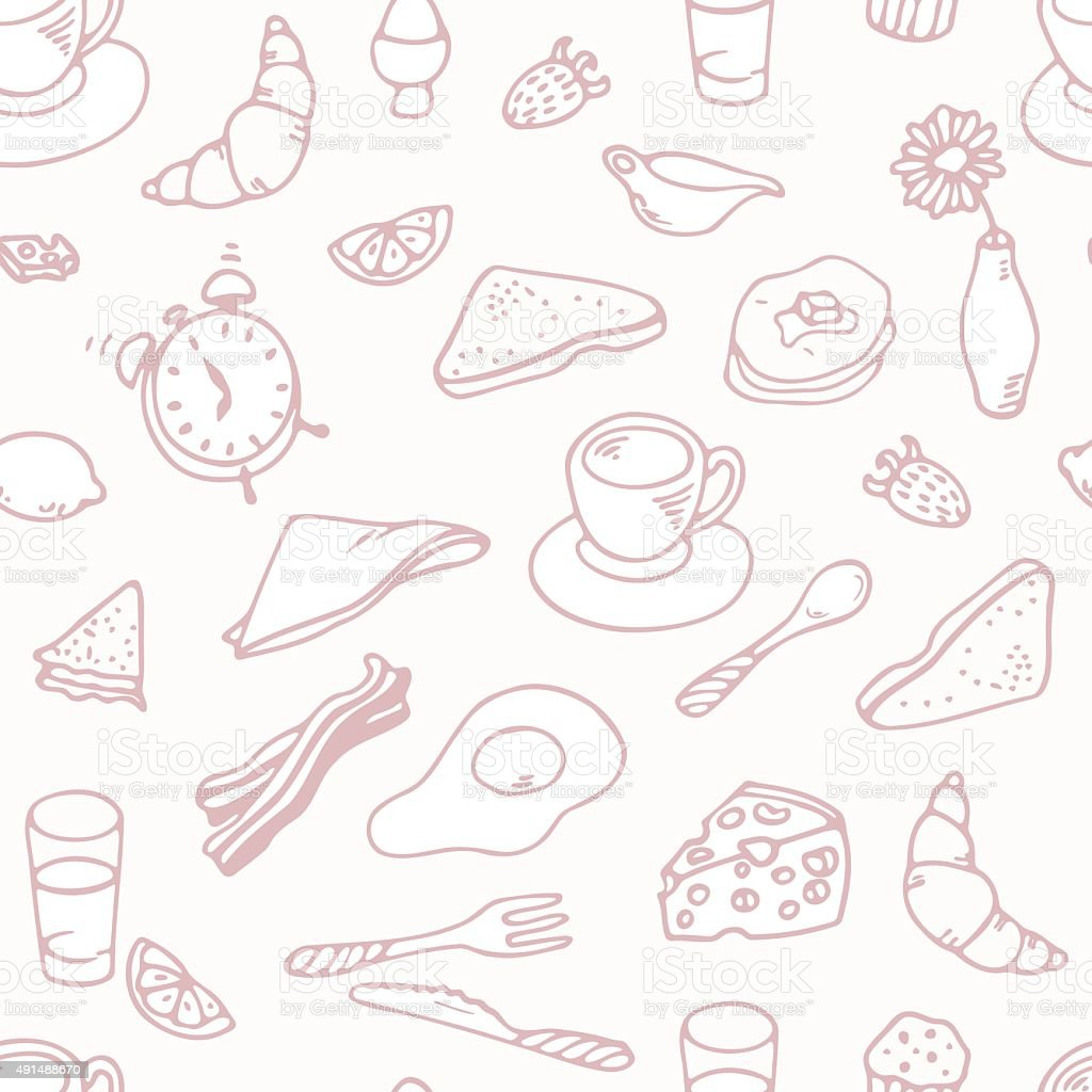 Outline hand drawn breakfast seamless pattern vector art illustration