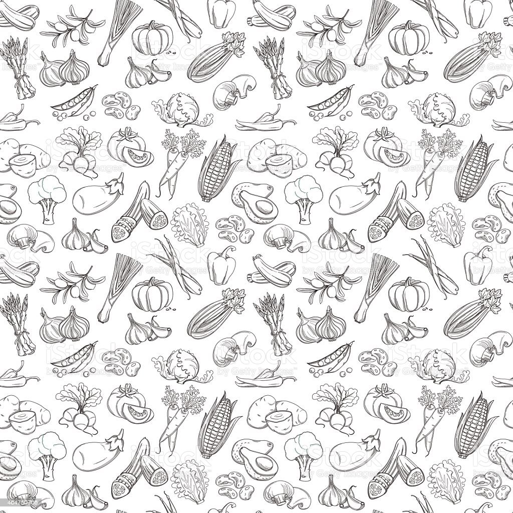 Outline hand drawn vegetable pattern (flat style, thin  line) vector art illustration