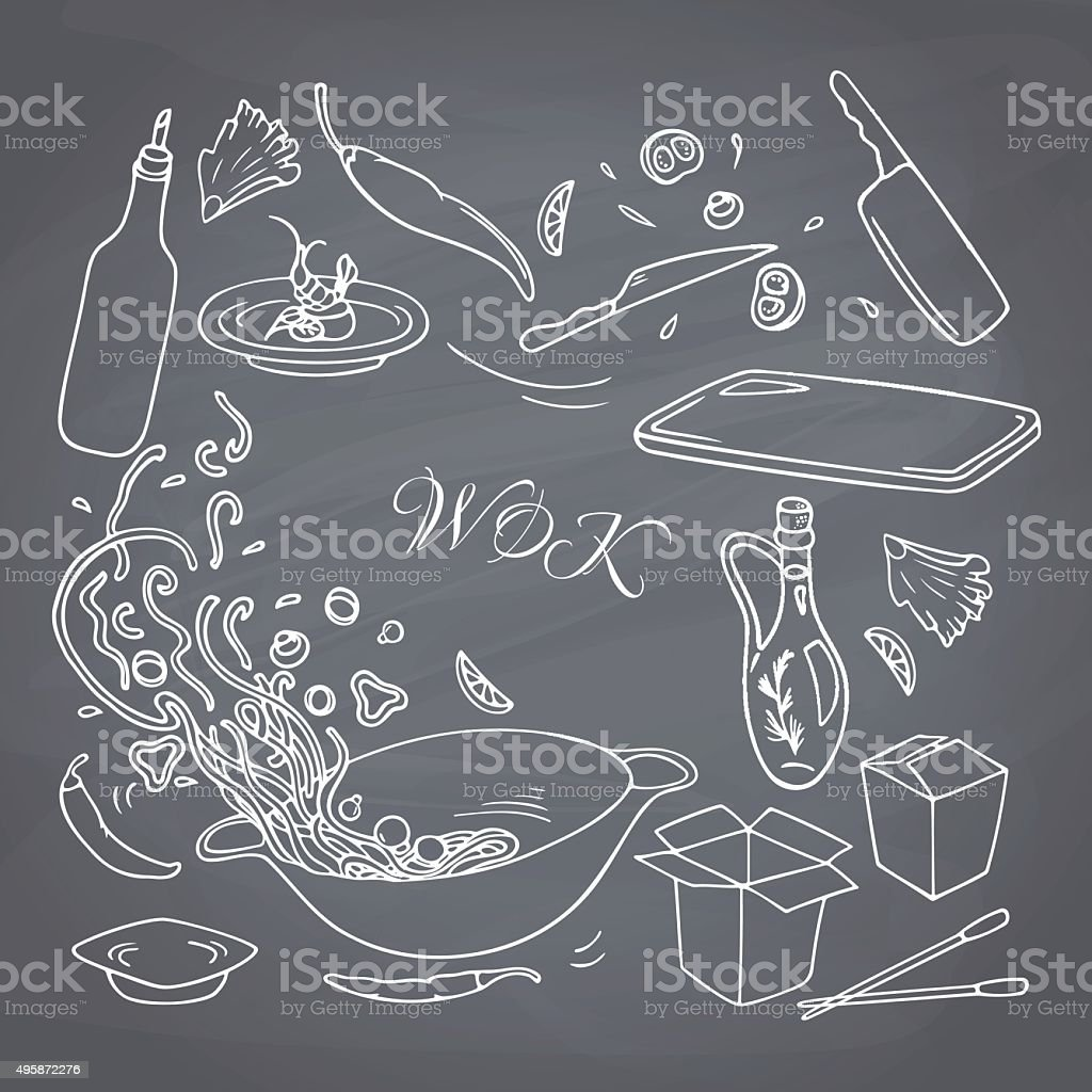 Outline hand drawn wok restaurant food. Chalk style vector art illustration