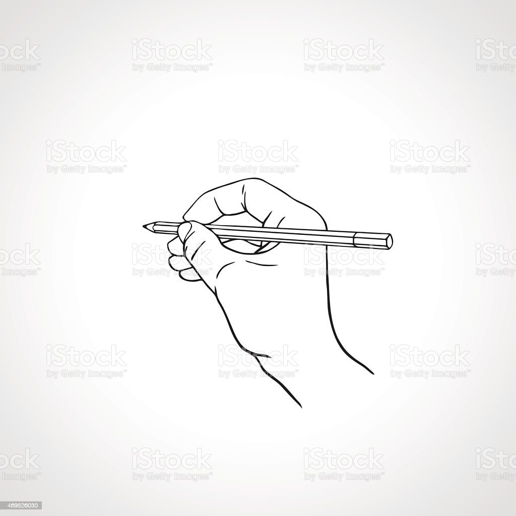Outline hand writing with a pencil. Vector illustration vector art illustration