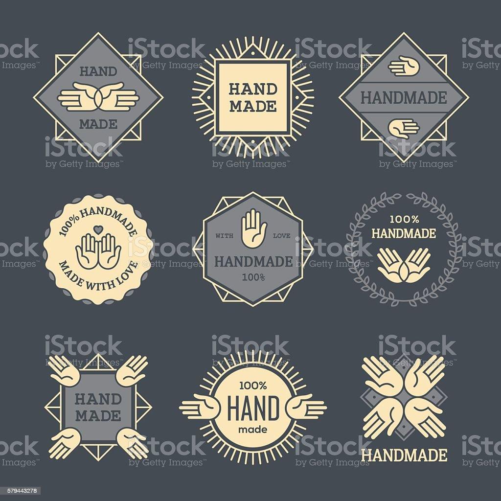 Outline handmade labels set on dark background vector art illustration