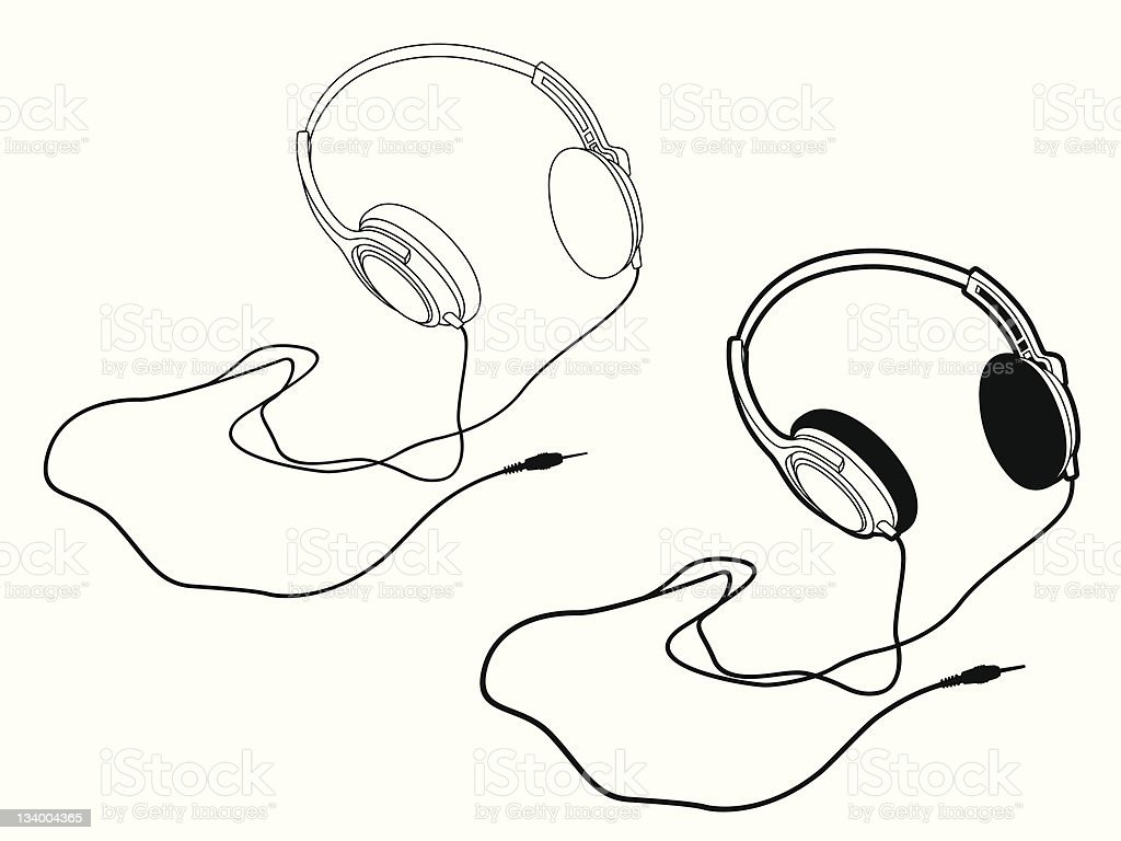 outline headphones with the cord royalty-free stock vector art