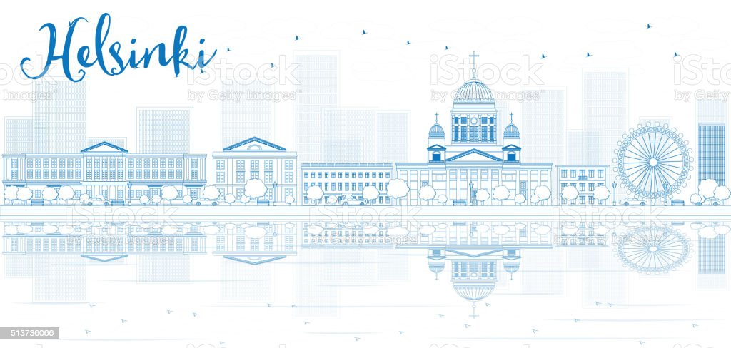 Outline Helsinki skyline with blue buildings and reflections. vector art illustration