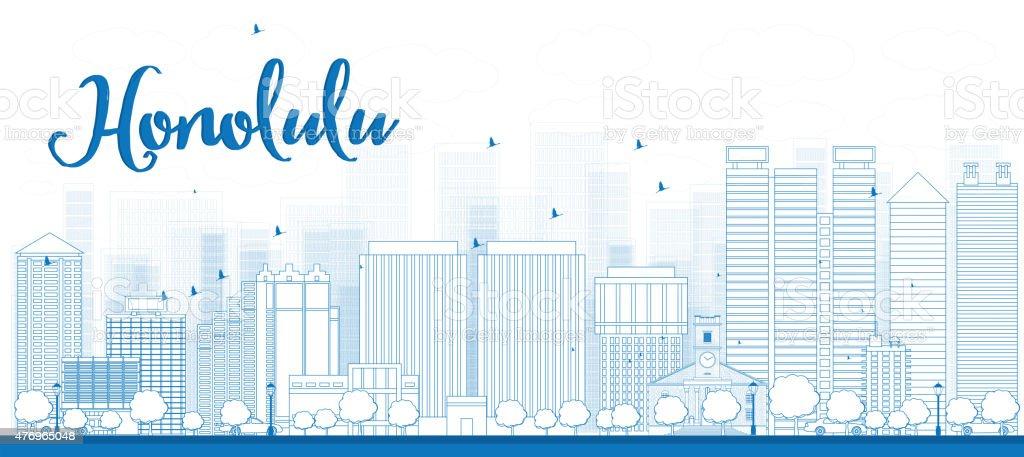 Outline Honolulu skyline with blue buildings. Hawaii. vector art illustration