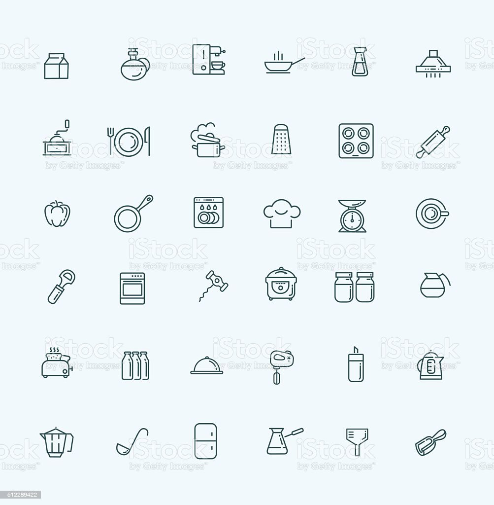 Outline icon collection - cooking, kitchen tools and utensils vector art illustration
