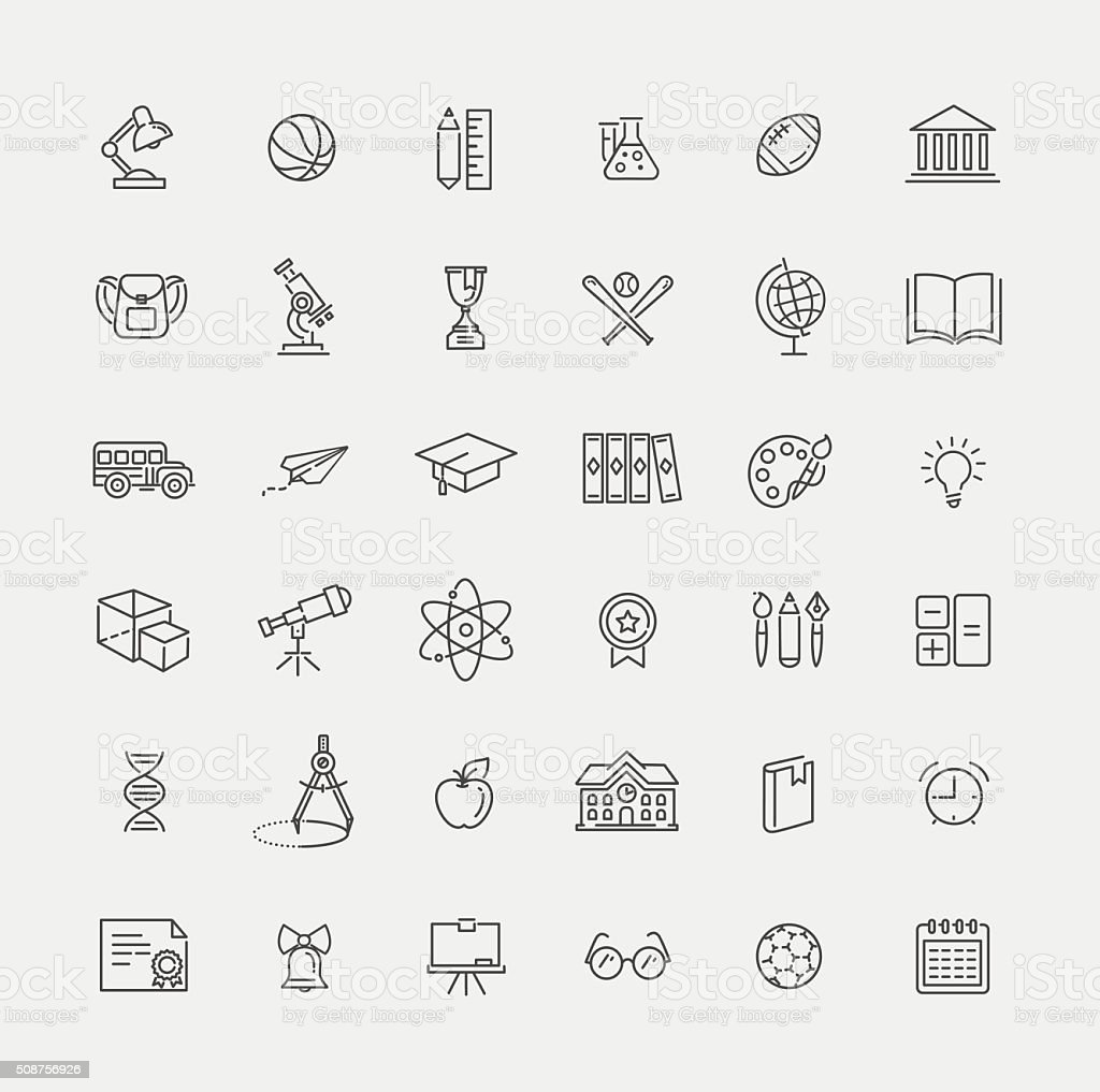 Outline icon collection - School education vector art illustration