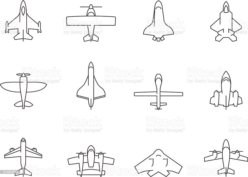 Outline Icons - Airplanes vector art illustration
