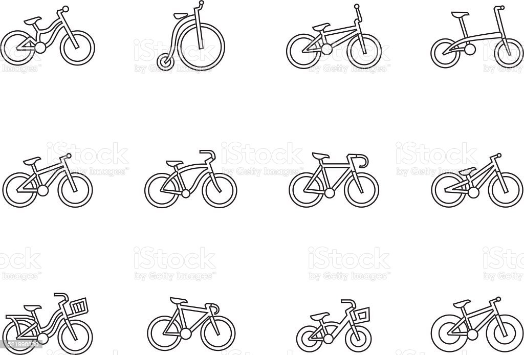 Outline Icons - Bicycles vector art illustration