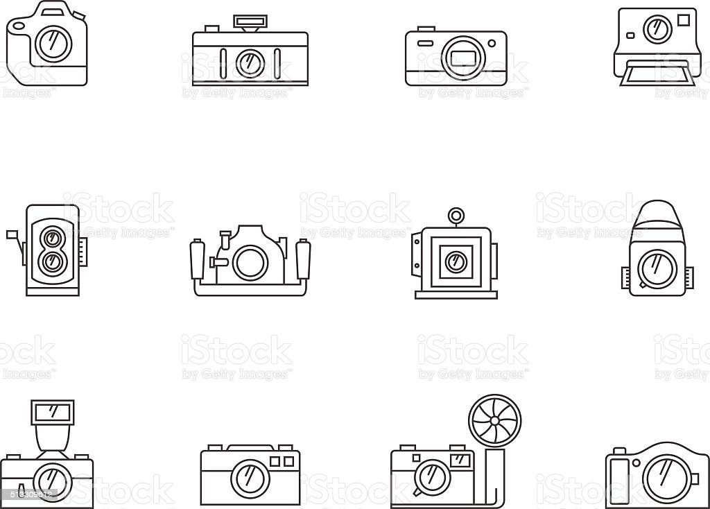 Outline Icons - Cameras vector art illustration