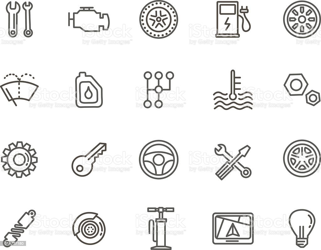 Outline icons. Car parts and services vector art illustration