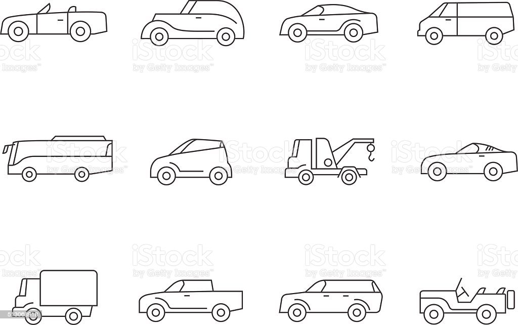 Outline Icons - Cars vector art illustration