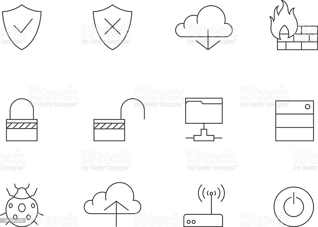 Outline Icons - Computer Network vector art illustration