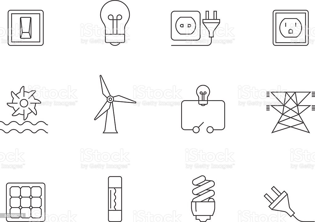 Outline Icons - Electricity vector art illustration