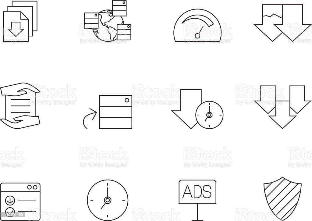 Outline Icons - File Sharing vector art illustration
