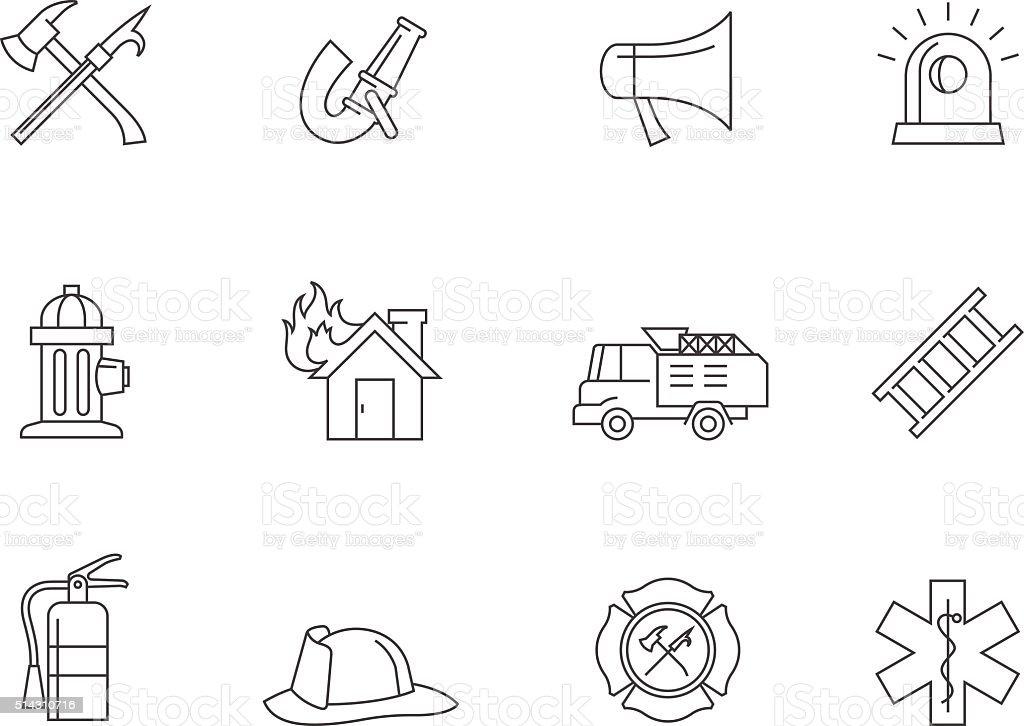 Outline Icons - Fire Fighter vector art illustration