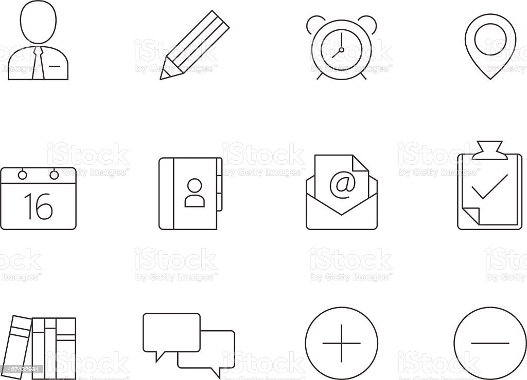 Outline Icons - Group Collaboration vector art illustration