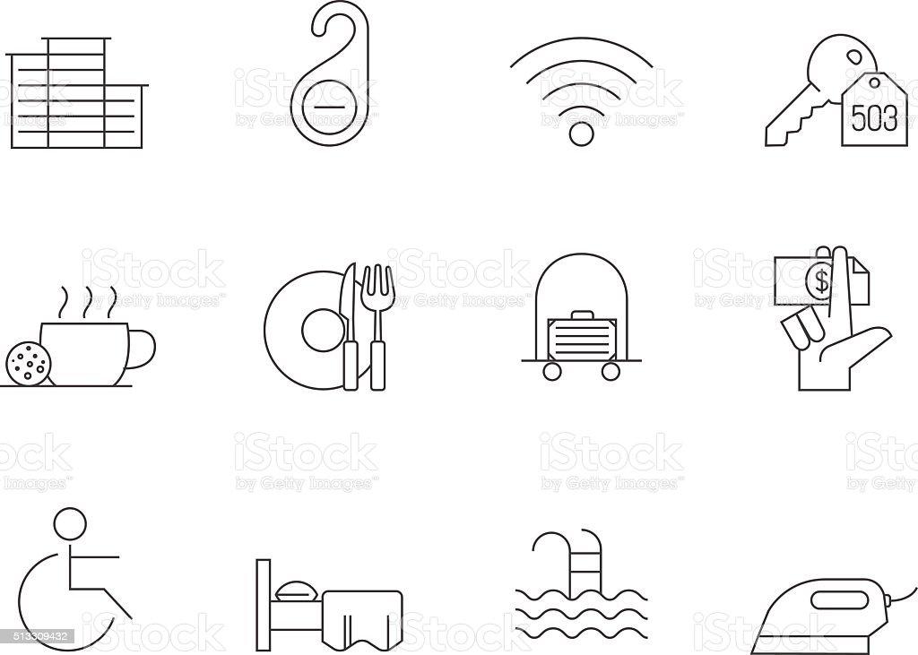 Outline Icons - Hotel vector art illustration