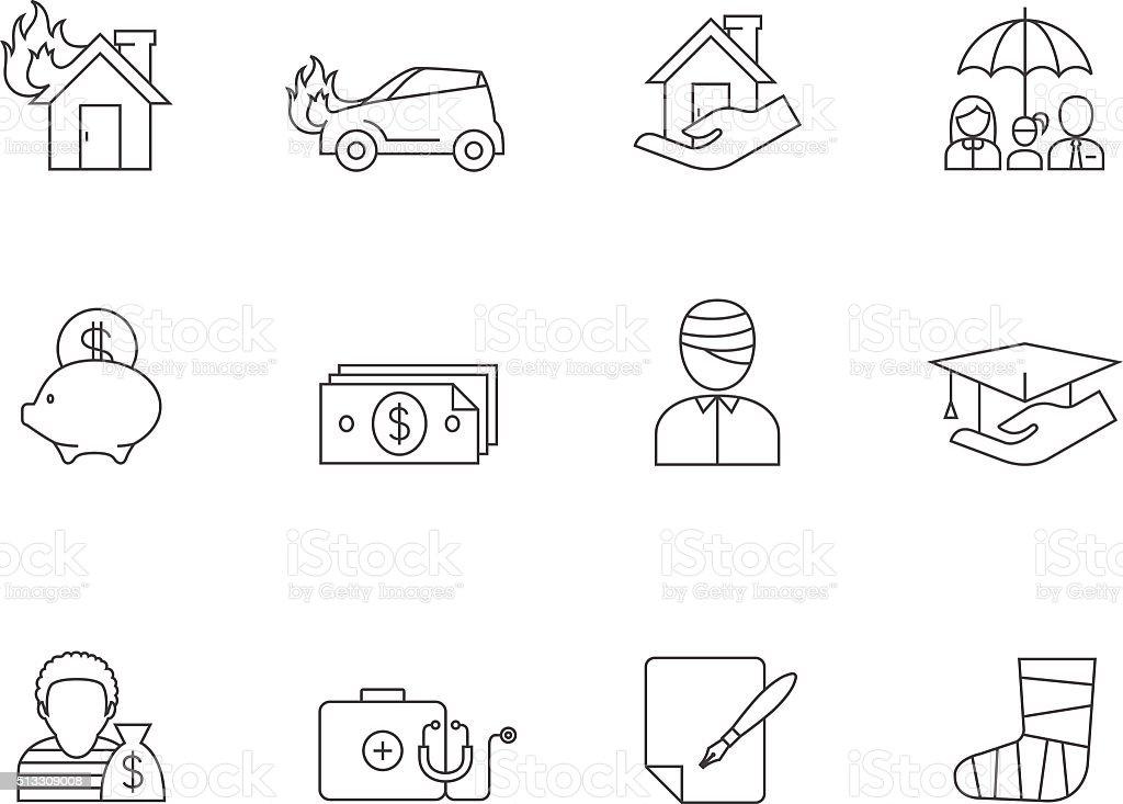 Outline Icons - Insurance vector art illustration