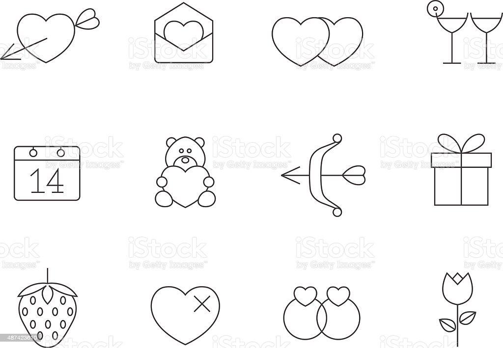 Outline Icons - Love vector art illustration