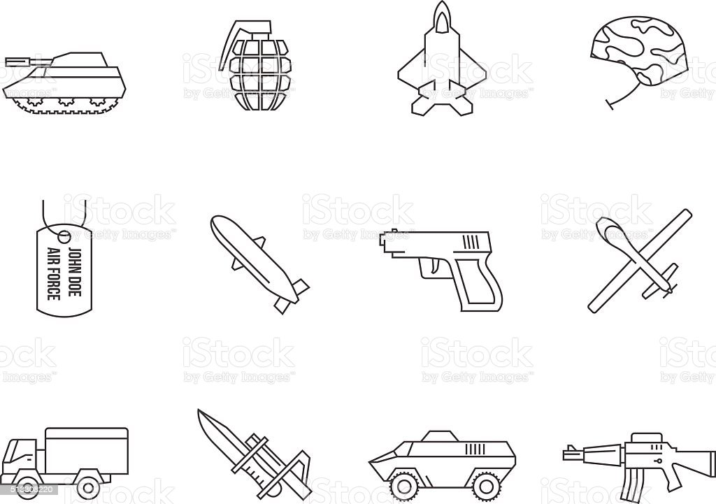 Outline Icons - Military vector art illustration