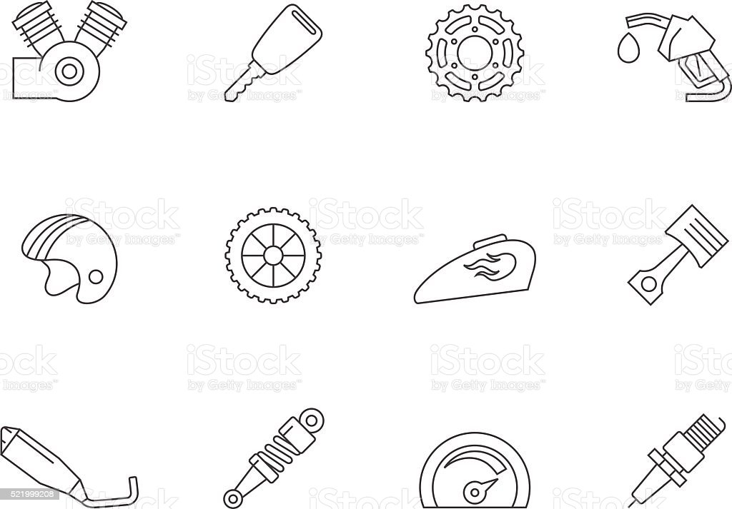 Outline Icons - Motorcycle Parts vector art illustration