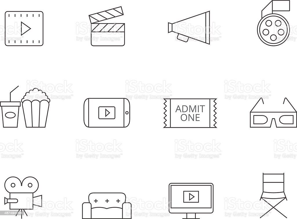 Outline Icons - Movie vector art illustration