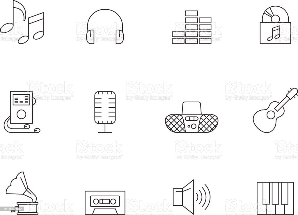 Outline Icons - Music vector art illustration