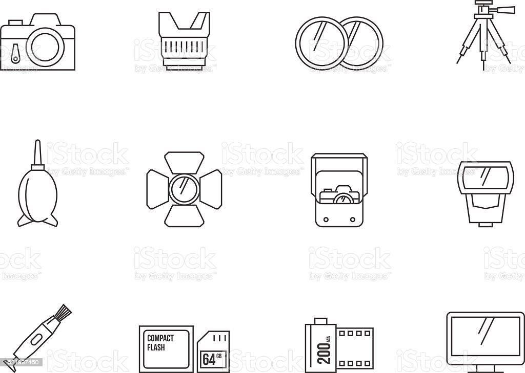 Outline Icons - Photography vector art illustration