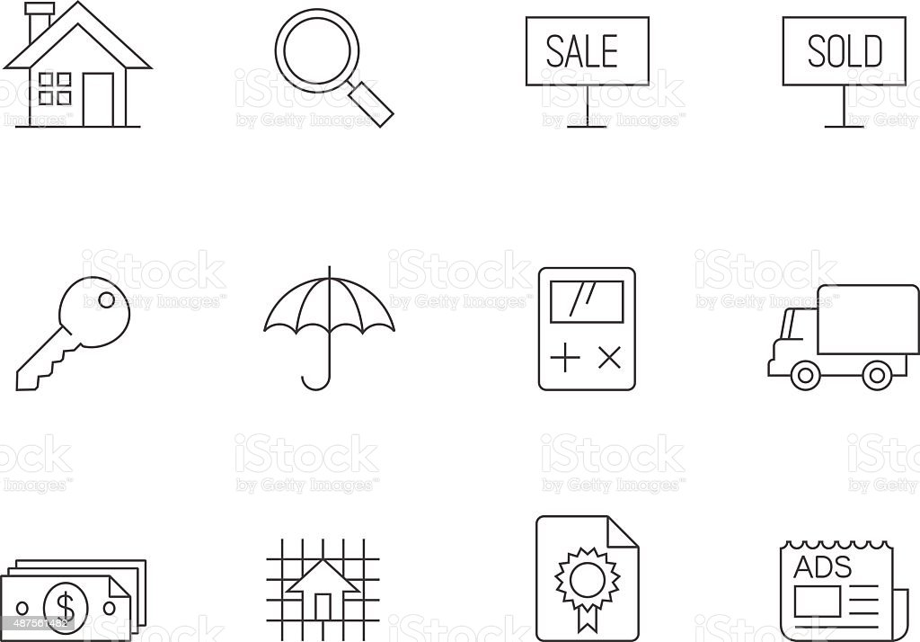 Outline Icons - Real Estate vector art illustration