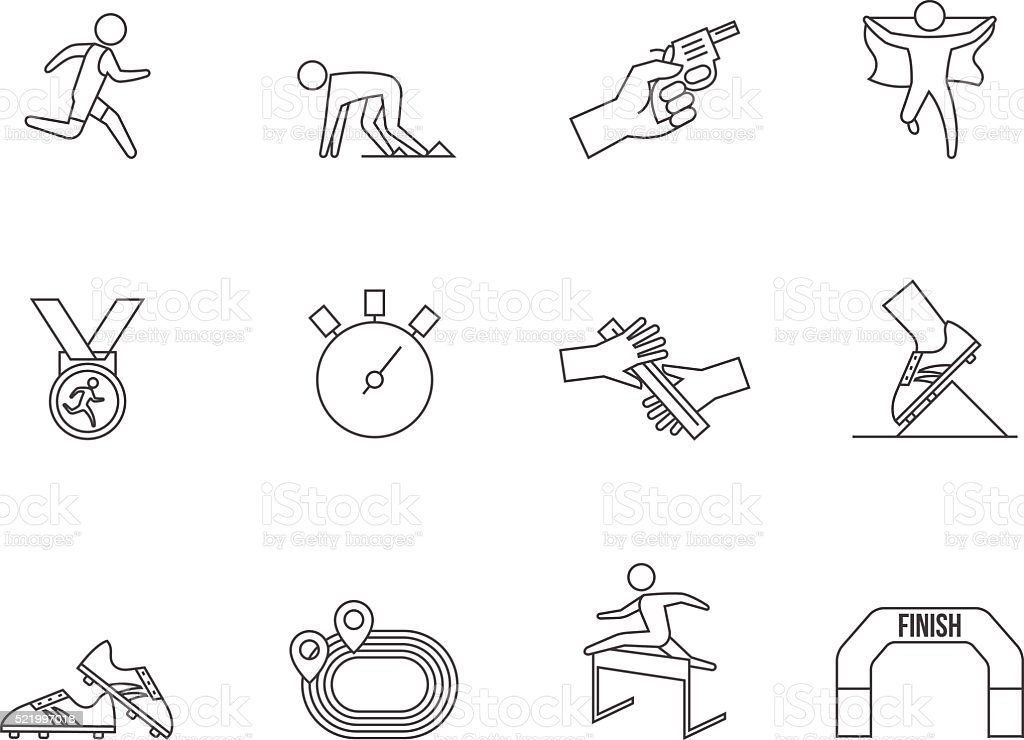 Outline Icons - Run Competition vector art illustration