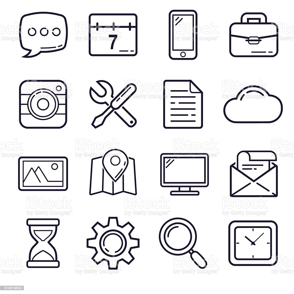 Outline Icons, set 1 vector art illustration
