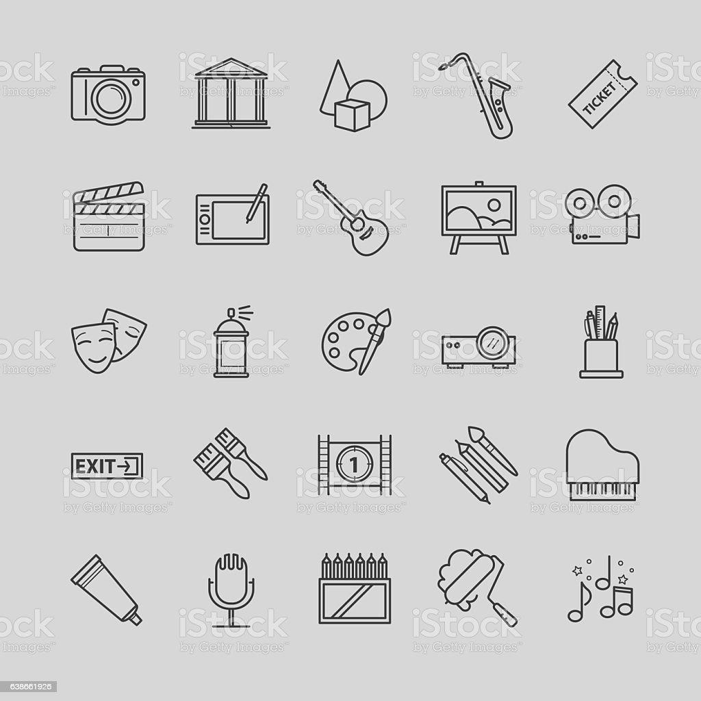 Outline icons set - art, entertament, drawning tools vector art illustration