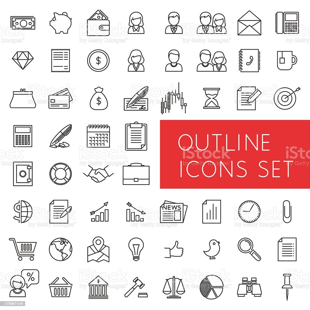 Outline icons set for web and applications. vector art illustration