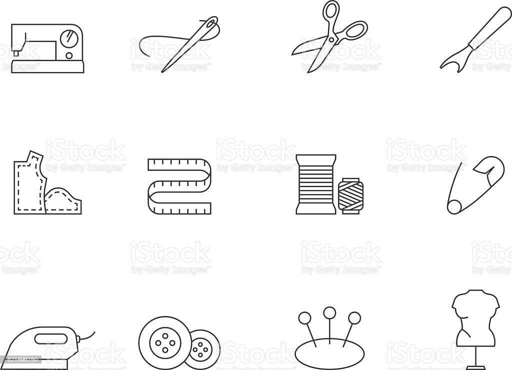 Outline Icons - Sewing vector art illustration