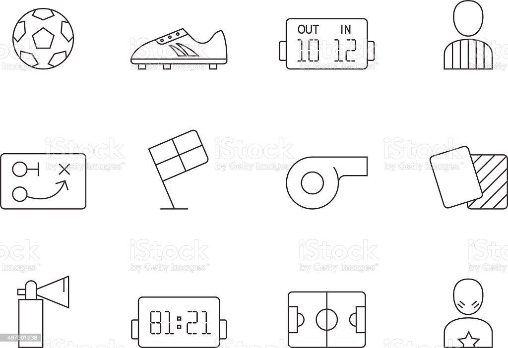Outline Icons - Soccer vector art illustration