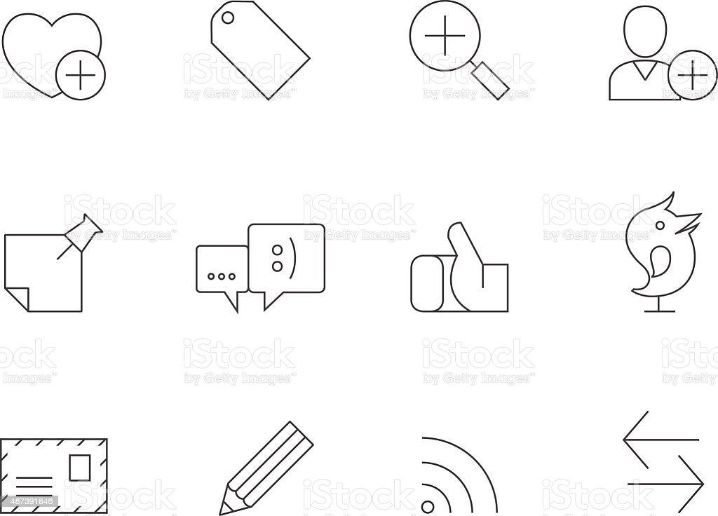 Outline Icons - Social Network vector art illustration