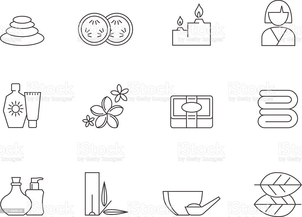 Outline Icons - Spa vector art illustration