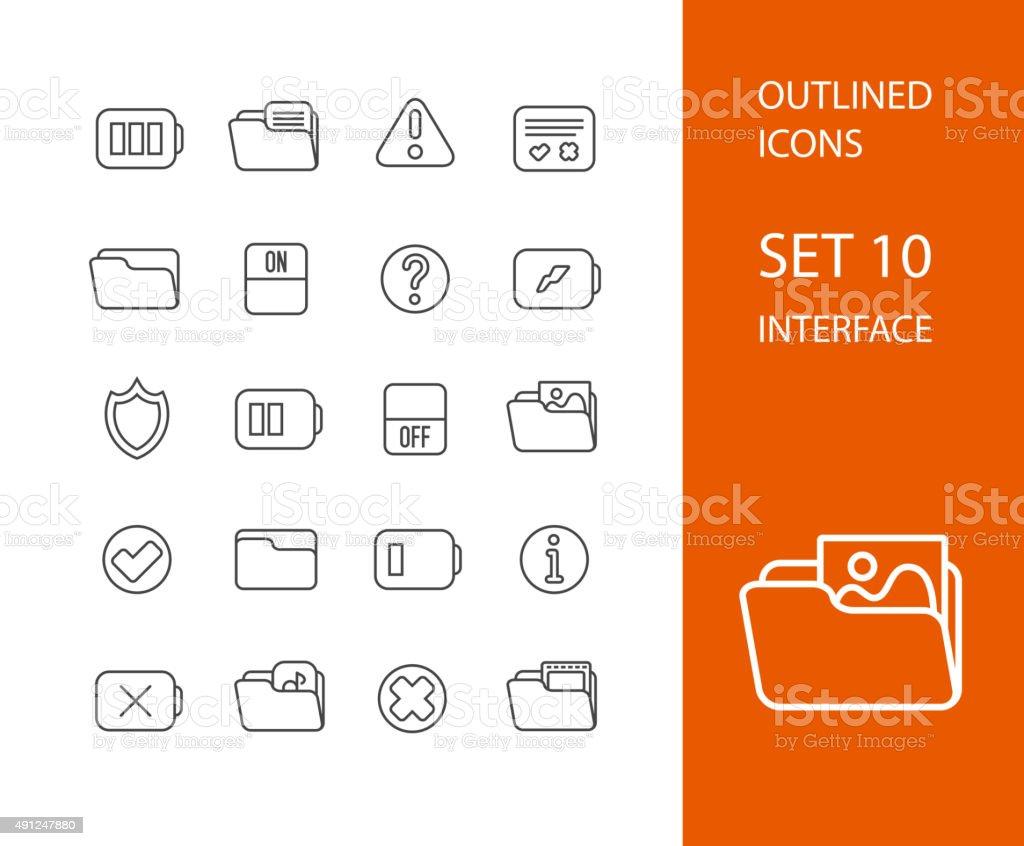 Outline icons thin flat design, modern line stroke style vector art illustration