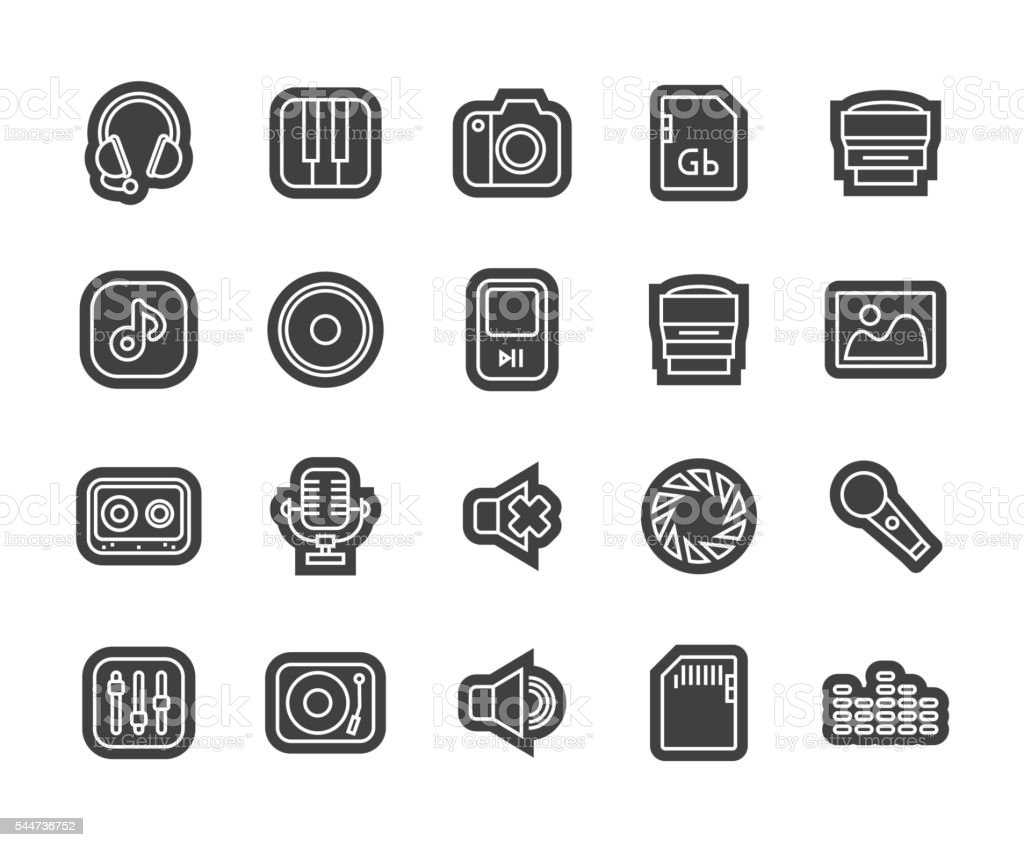 Outline icons thin flat design, modern line stroke style vector art illustration