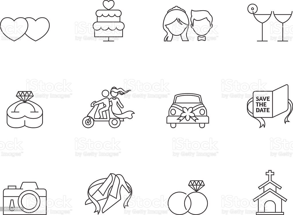 Outline Icons - Wedding vector art illustration