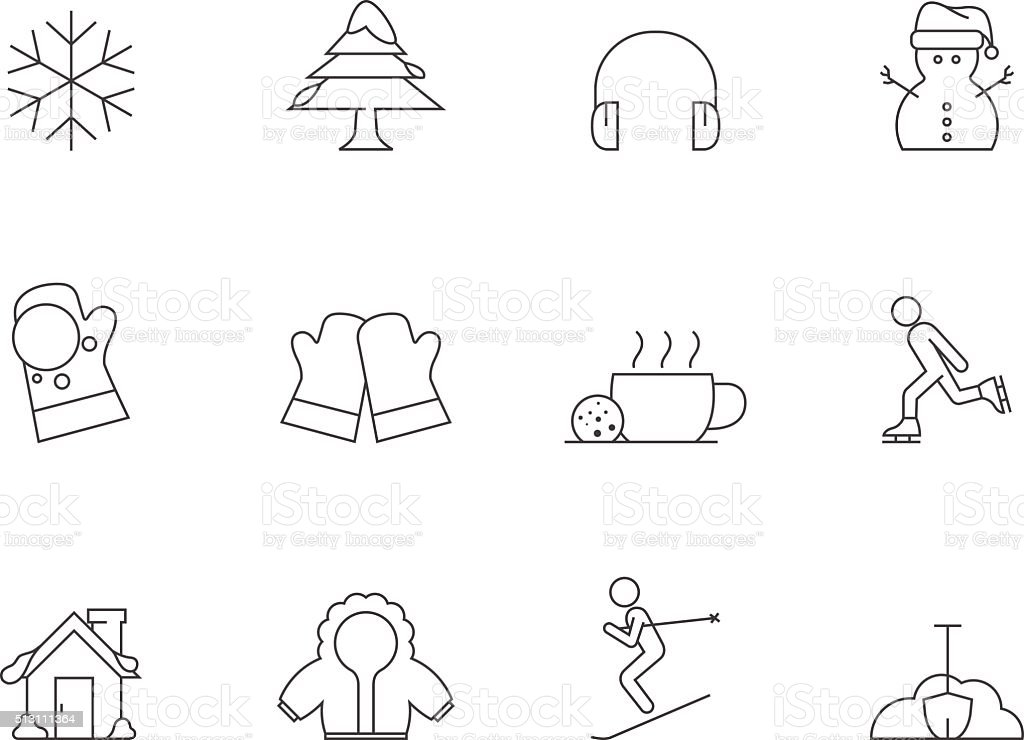 Outline Icons - Winter vector art illustration